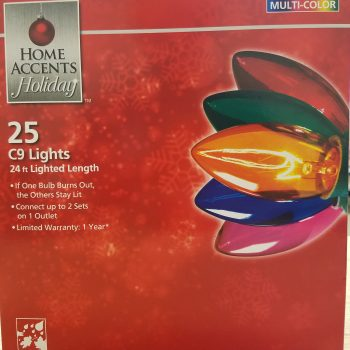 Home Accents Holiday 25 Multi-color C9 Lights Indoor/Outdoor 24 Ft. Length
