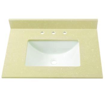 Home Decorators 31″ W Engineered Marble Single Basin Vanity Top Crema Limestone