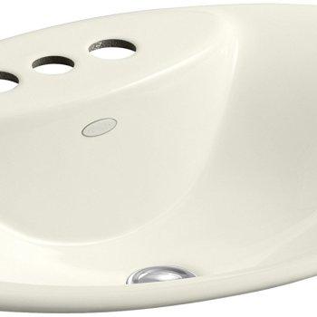 KOHLER Maratea Drop-In Cast Iron Bathroom Sink in Biscuit K-2831-4-96