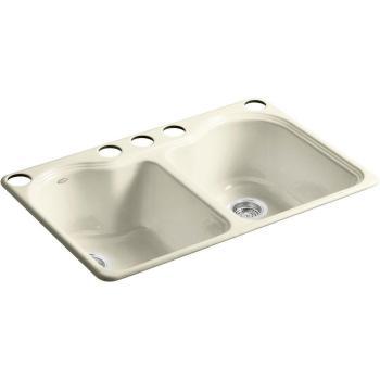 KOHLER Hartland Undermount Cast Iron 33″ 5-Hole Double Bowl Sink Cane Sugar