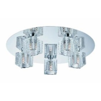 Hampton Bay Olivet 16 in. 5-Light Chrome Flushmount with Cube Glass Shades