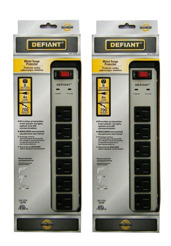 Defiant 6-Outlet Metal Surge Protector with 4 ft. Cord 701719 YLPT-44 (2-Pack)