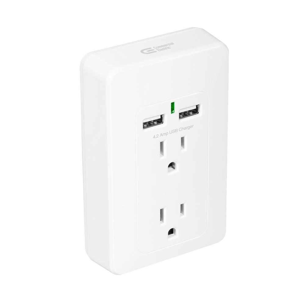 120x Commercial Electric 2-AC Outlet 2-USB 4.2 Amp Shared