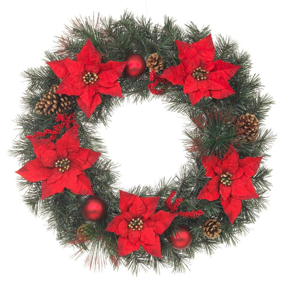 30 in. Unlit Artificial Christmas Pine Wreath with Red Poinsettias 911119