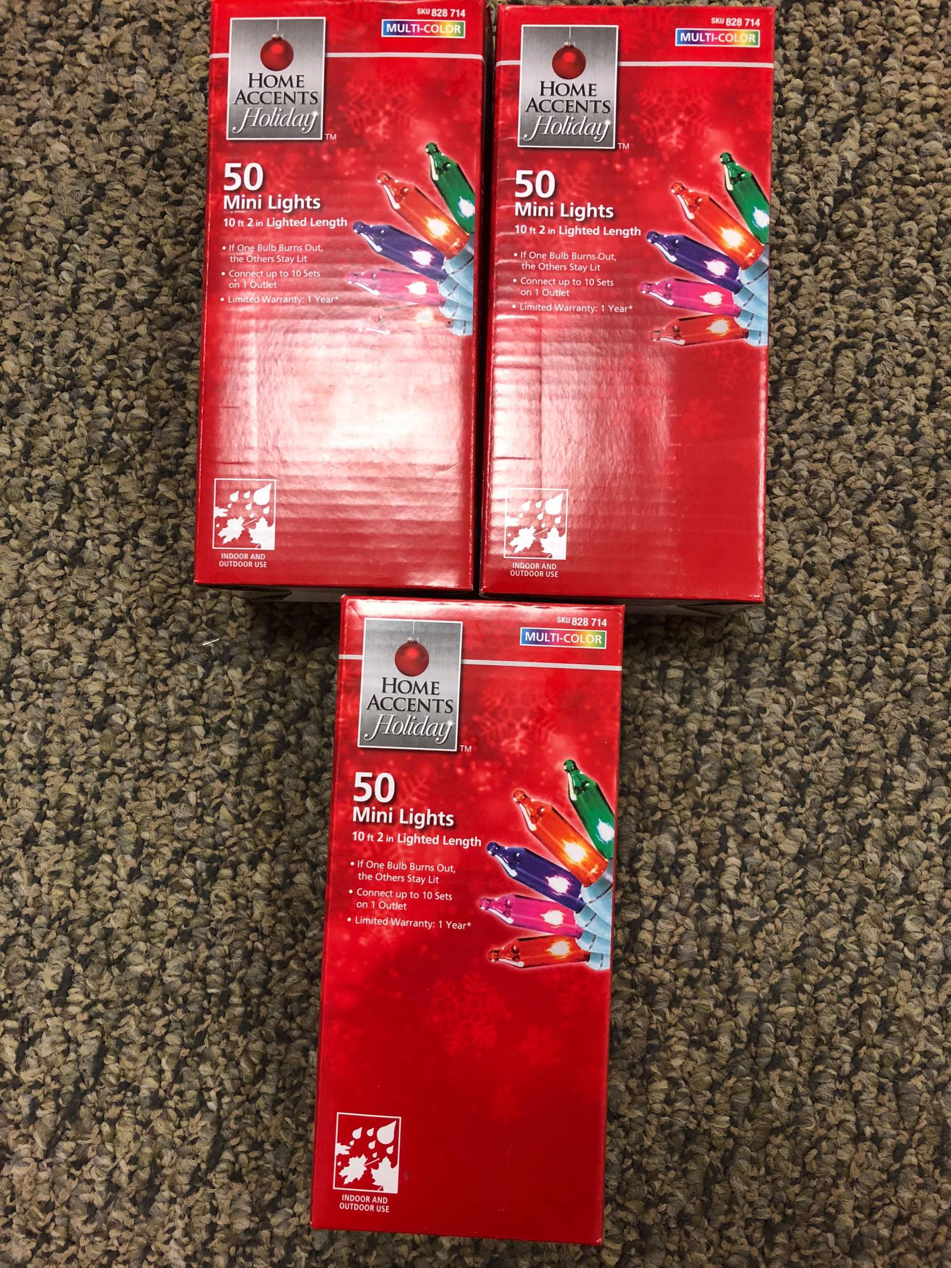 Lot Of 3 Home Accents Holiday 50 Mini Lights 10 ft 828714
