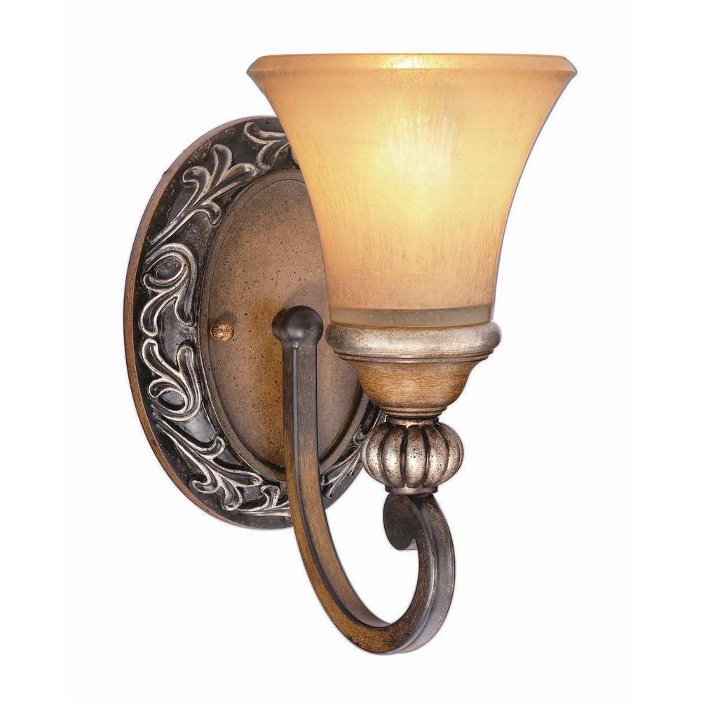 Hampton Bay 1-Light Caffe Patina Sconce 15108