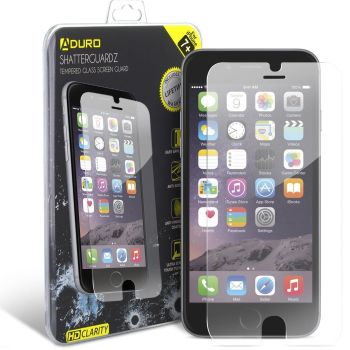 Aduro Shatterguardz Tempered Glass Screen Protector for iPhone 6 / 7 / 8 / Plus