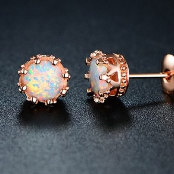 Sevil Women's Fire Opal Crown Stud Earrings in Rose Gold