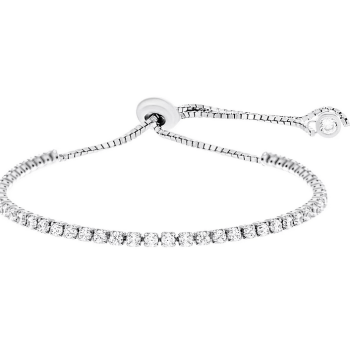 18K White Gold Sterling Silver Cubic Zirconia 6″+2″ Adjustable Tennis Bracelet