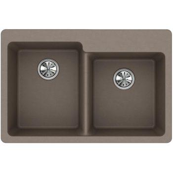 Elkay Quartz Classic Offset Double Bowl Top Mount Sink in Greige ELG250RGR0