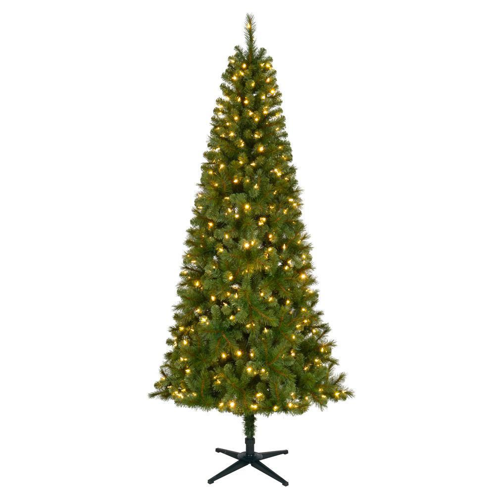7.5 ft LED Wesley Slim Spruce Artificial Christmas Tree w Color Changing Lights