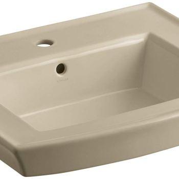 Kohler Archer 24″ Pedestal Bathroom Sink with Overflow Mexican Sand K-2358-1-33