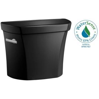 KOHLER Wellworth 1.6 GPF Single Flush Toilet Tank Only in Black Black K-4468-7