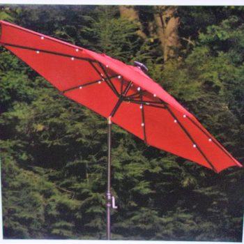 Hampton Bay 9′ x 8′ Rib Round Solar Umbrella with Tilt in Scarlet 190 277