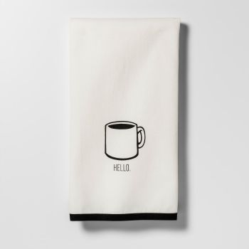 Project 62 Hello Coffee Cup Kitchen Towel in White/Black (2-Pack)
