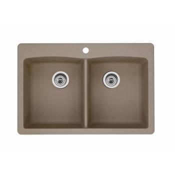 Blanco DIAMOND Granite Composite 33″ 1-Hole 2-Bowl Kitchen Sink Truffle 441285