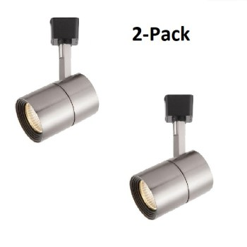 2x Hampton Bay Brushed Nickel Dimmable LED Cylinder Track Light Fixture 1604-SN