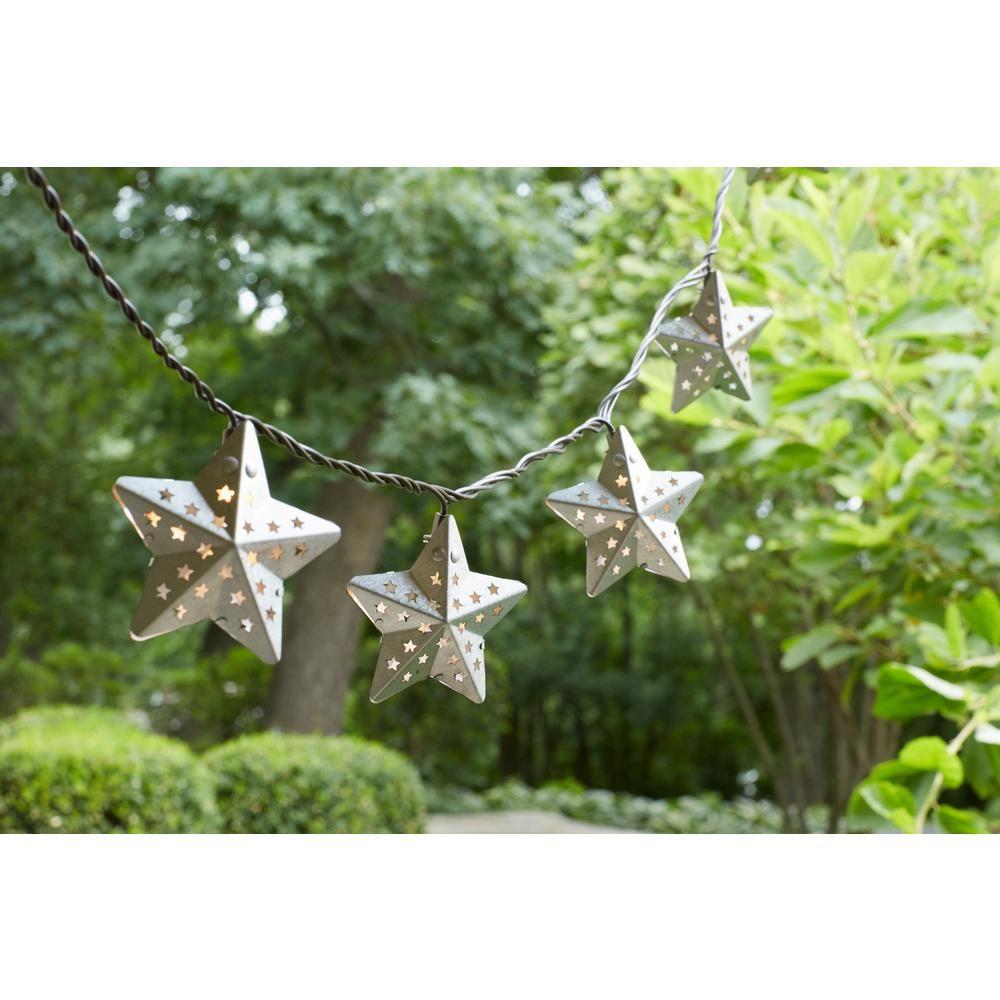 10-Light Metal Outdoor Star Incandescent String Light Set