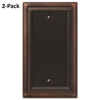 2-PACK Amerelle Continental 1-Blank Wall Plate in Aged Bronze 94BVB