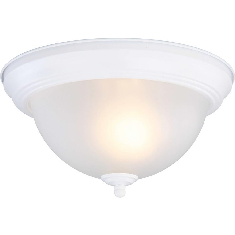 Commercial Electric 714 316 1-Light Matte White Flush Mount EFG1011P-3-WHT