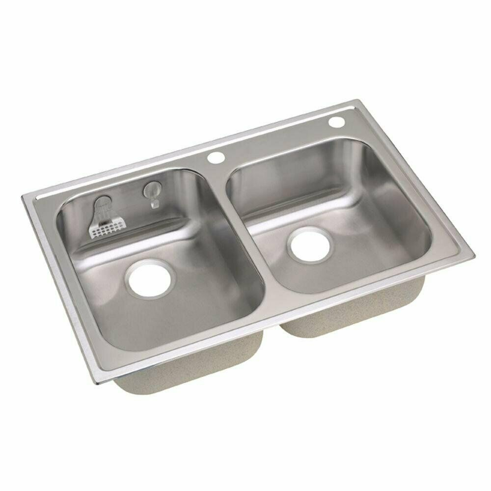 Elkay Magna Drop-In Stainless-Steel 33″ 2Hole Double Bowl Kitchen Sink HD3322EK2