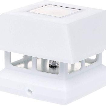 Veranda White Outdoor Solar Powered Rechargeable LED Post Mounted Cap Light