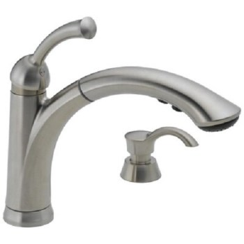 Delta Lewiston Stainless 1-Handle Deck Mount Pull-out Faucet 16926-SSSD-DST