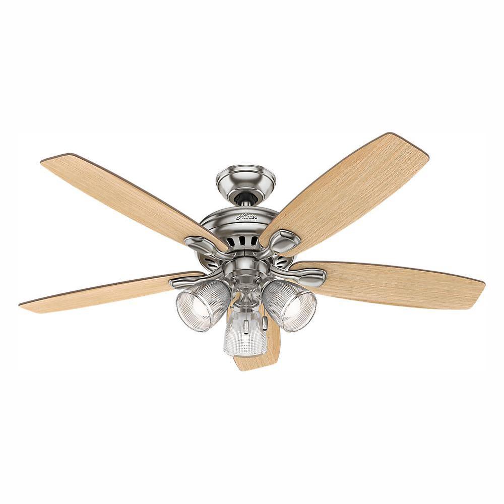 Hunter Highbury II 52 in. LED Indoor Brushed Nickel Ceiling Fan Light Kit 52027