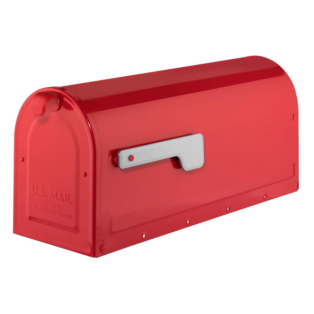Architectural Mailboxes MB1 Post Mount Mailbox Red with Silver Flag 7600R