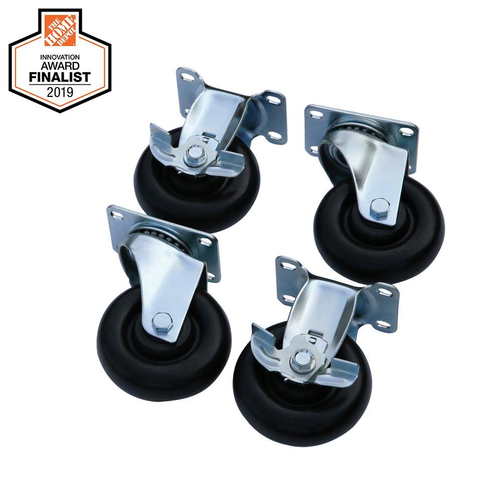 Husky 4 in. Black Caster Kit for Welded Steel Garage Cabinets G0401AC-US
