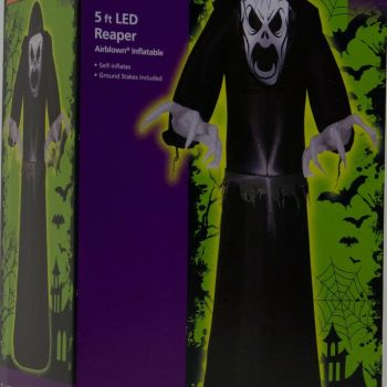 Halloween Home Accents 5 ft LED Reaper Airblown Inflatable NIB 1001261491