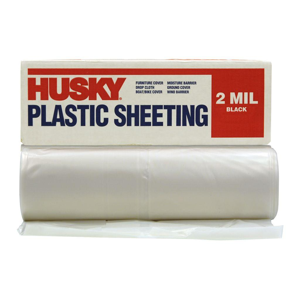 HUSKY 10 ft. x 100 ft. Clear 2 mil. Plastic Sheeting RS210-100C