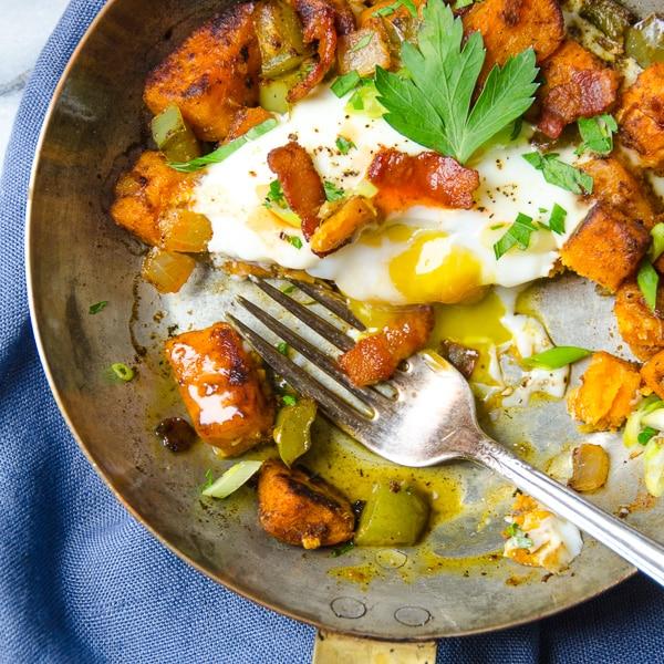 sweet potato and bacon hash | Garlic + Zest