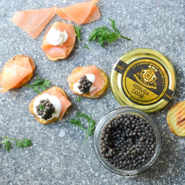 smoked salmon and caviar bites-8