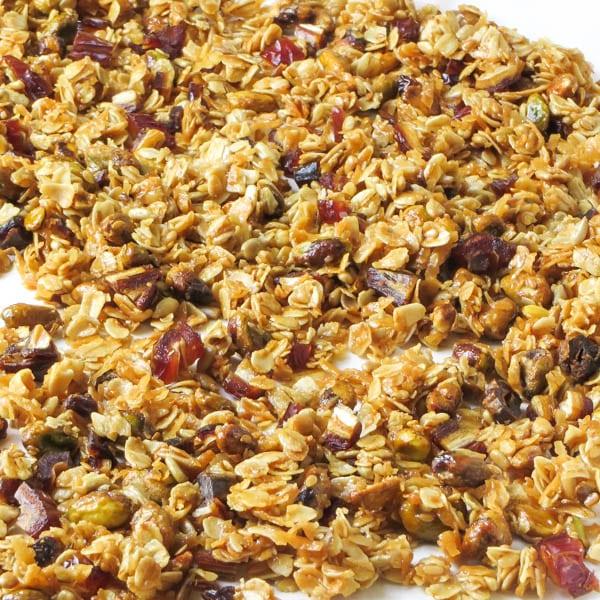 crunchy pistachio date granola   Garlic + Zest