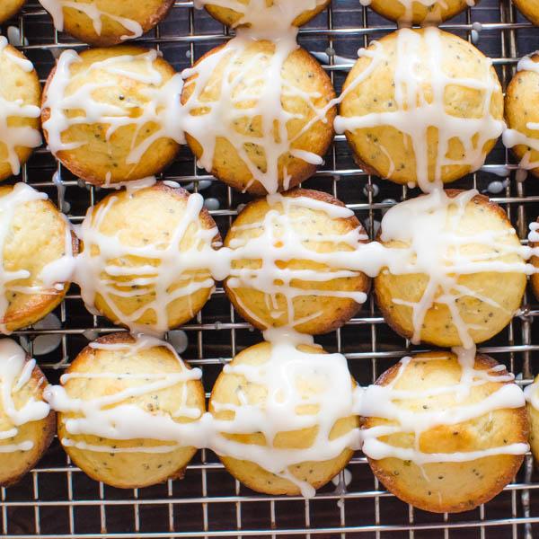 Glazed Lemon Poppyseed Mini Muffins   Garlic + Zest