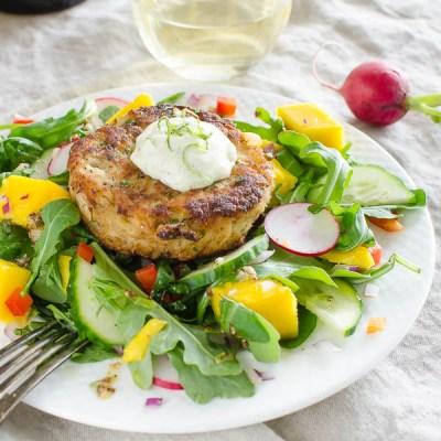 Key Lime Mango Crab Cake Salad