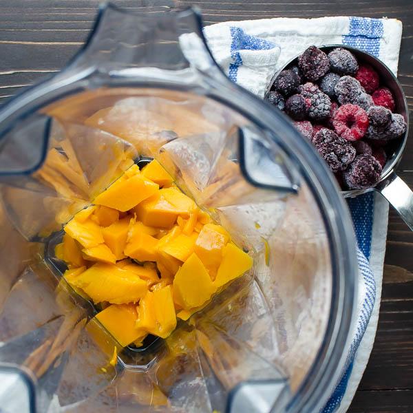 Mango Berry Protein Smoothie | Garlic + Zest