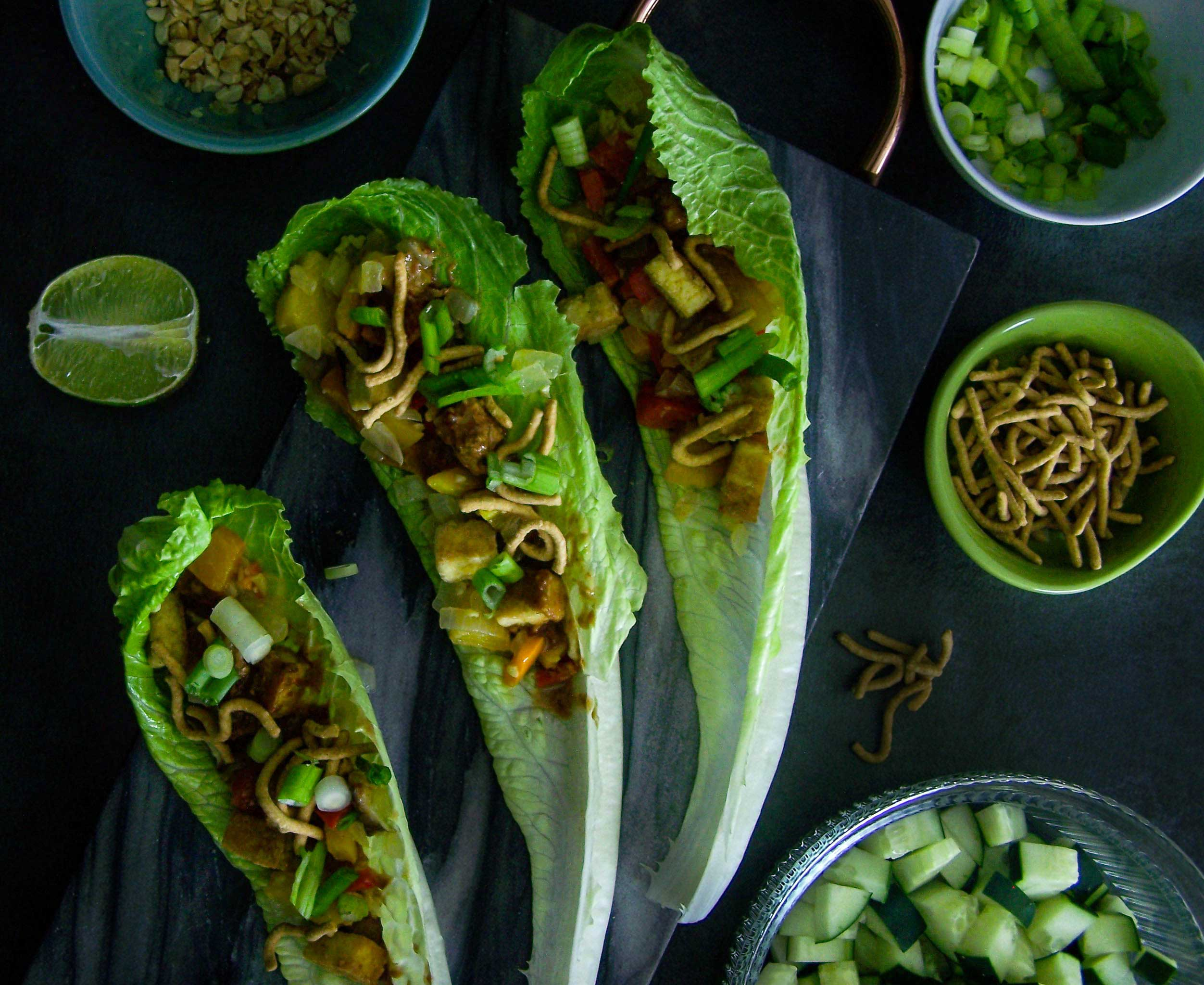 Asian Lettuce Wraps with Crispy Baked Tofu