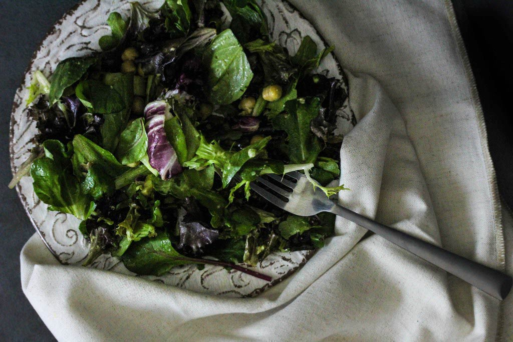 Avocado and Greens Salad with Lemon Mint Dressing