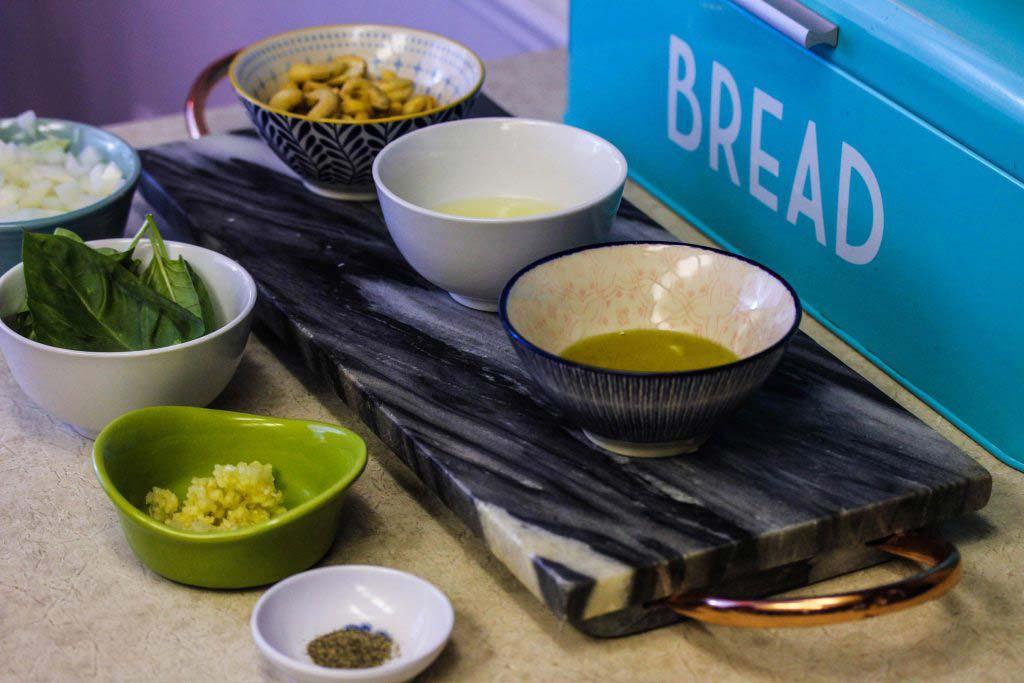 Measured ingredients for Guilt Free Vegan Alfredo Pasta