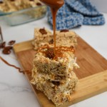 brown butter pecan Rice Krispie treats with caramel drizzle