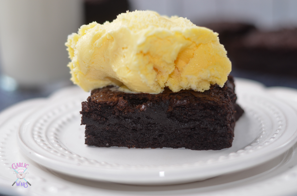 fudgy brownie with ice cream