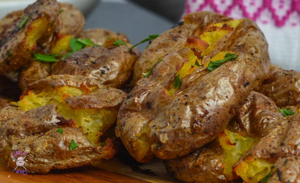 smashed potatoes close up