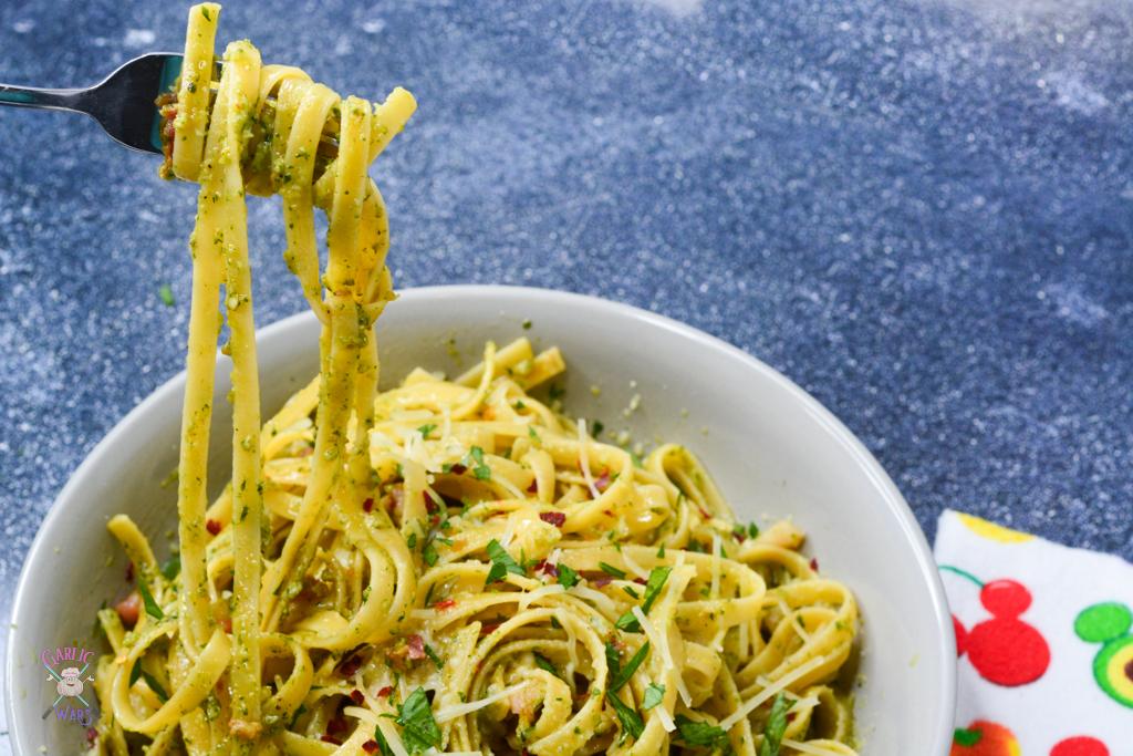 pesto pasta on fork