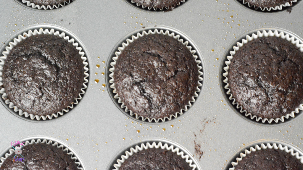 chocolate cupcakes in baking pan