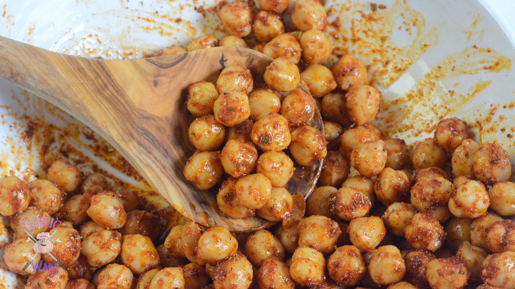 chickpeas tossed in olive oil and spices