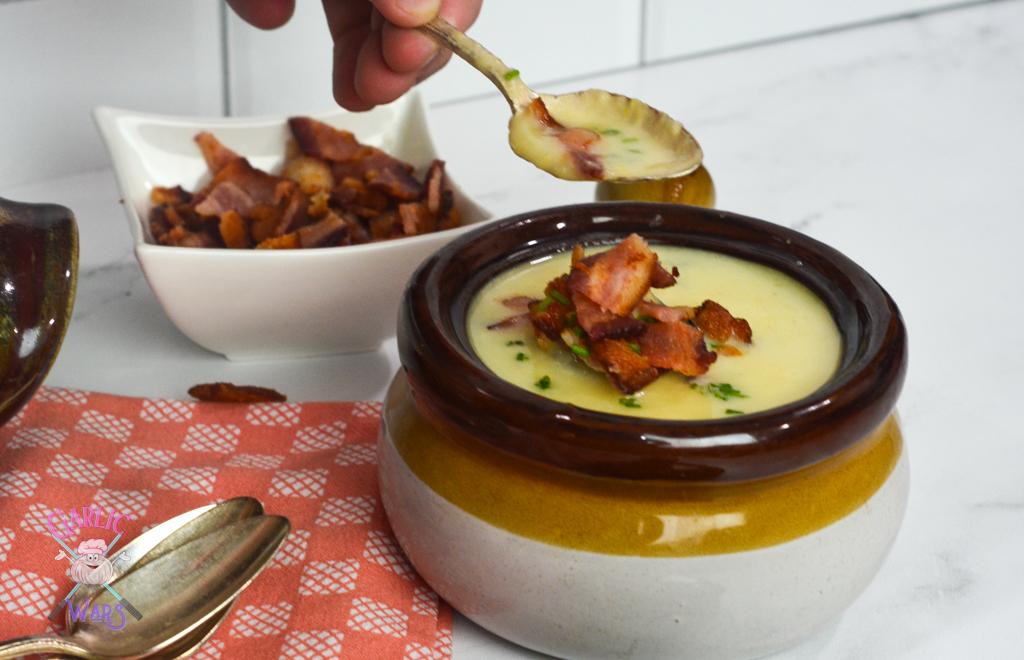 potato leek soup topped with bacon