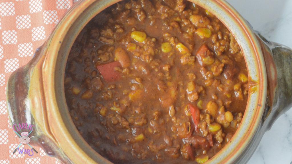 large bowl of pumpkin chili