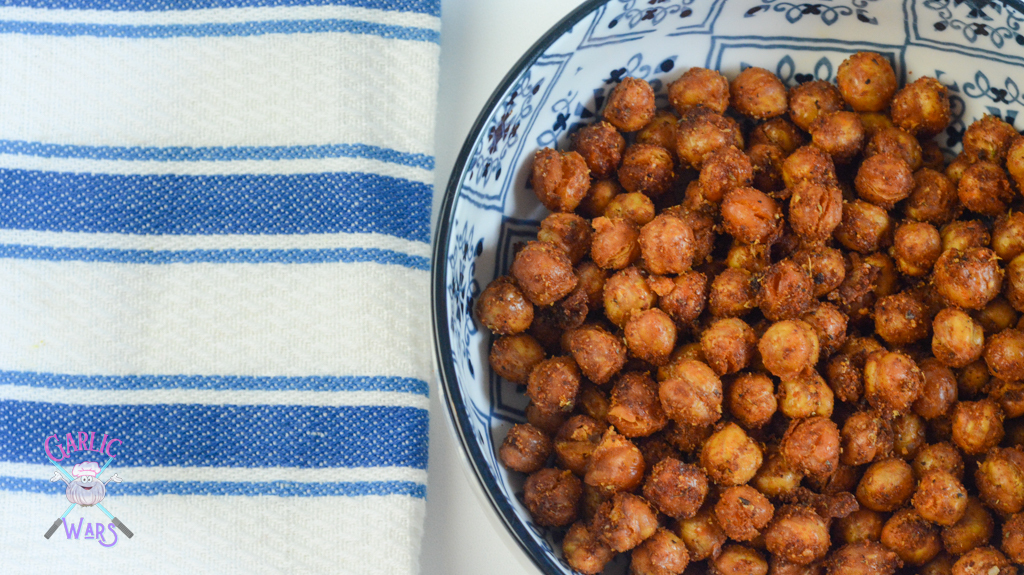 air fryer spanish chickpeas in white and blue bowl